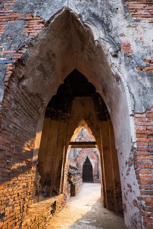 Ancient tunnel of chai watthanaram temple in ayutthaya, Thailand