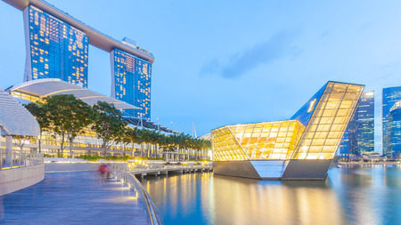 Singapore, Singapore - May 7, 2014: Loius Vuitton store, a luxury shop designed by architect Peter marino located in Marina Bay. Singapore.
