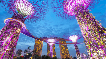 Singapore, Singapore - May 8, 2014: Singapore Gardens by the bay and Marina bay sand located in Marina Bay. Singapore.