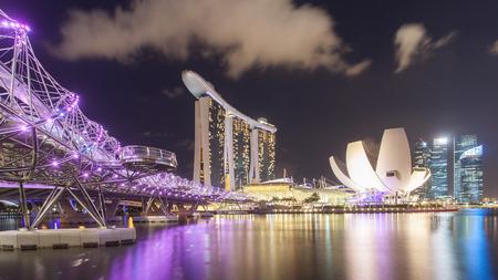 Singapore, Singapore - May 7, 2014: Helix bridge, urban bridge located in Marina Bay. Singapore.