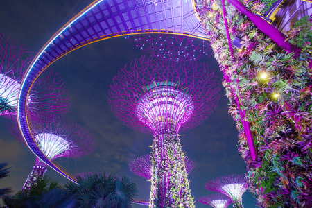Gardens by the bay located in Marina Bay. Singapore. Editorial