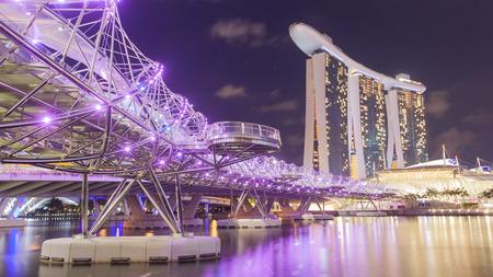 Helix bridge, urban bridge located in Marina Bay. Singapore.