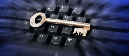 key on keyboard with blured view