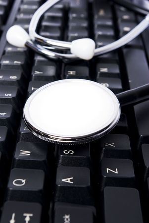 stethoscop on keyboard with white pad Stock Photo - 7068731