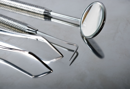 big close-up of dental tools