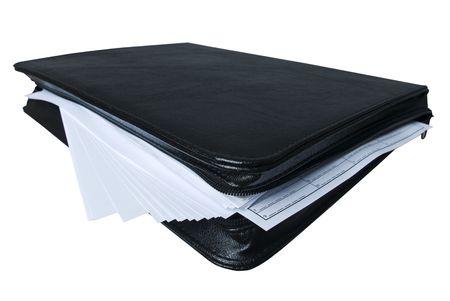 black briefcase: malet�n negro con una gran cantidad de papel