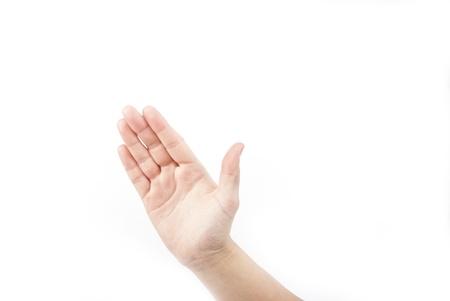 one hand on white photo