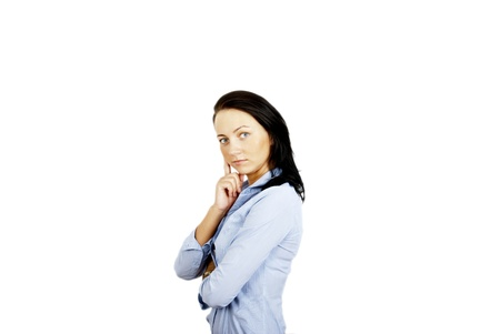 young business woman on white Stock Photo - 10400565