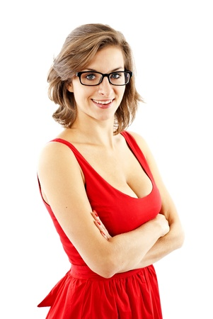 woman in red dress and glasses photo