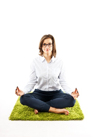 woman in yoga position photo