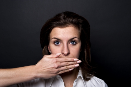 can't: woman cant speech Stock Photo