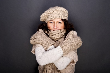 woman smiling with hat and gloves on her Stock Photo - 12206493