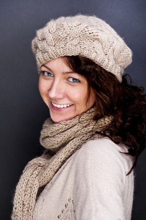 woman smiling with hat and gloves on her Stock Photo - 12206494