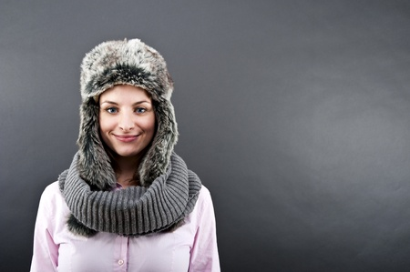warm clothes: woman in winter hat Stock Photo