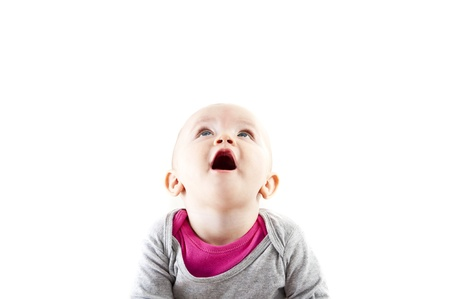 baby smiling and looking up Stock Photo - 13399976