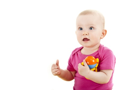 baby with ok hand and toy photo