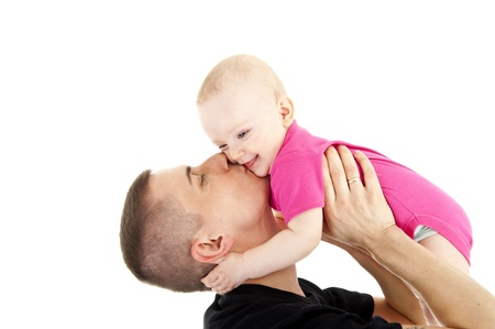 father with his baby on his arms Stock Photo