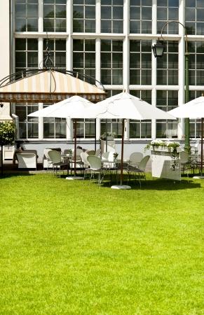 garden ubrella in park on lawn photo