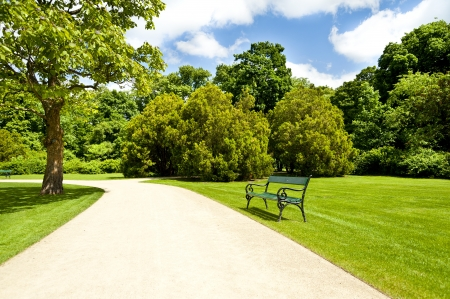 armchair in park with road Stock Photo - 13883084