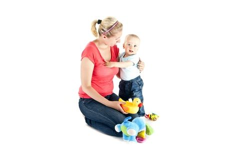 mother with baby on white background Stock Photo - 13961944