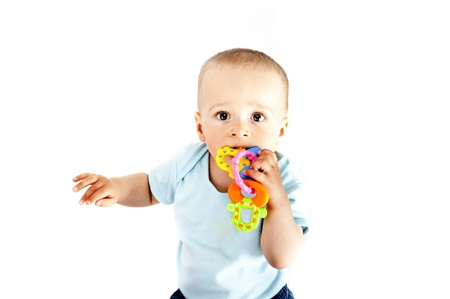 baby playing on white background Stock Photo - 13961933