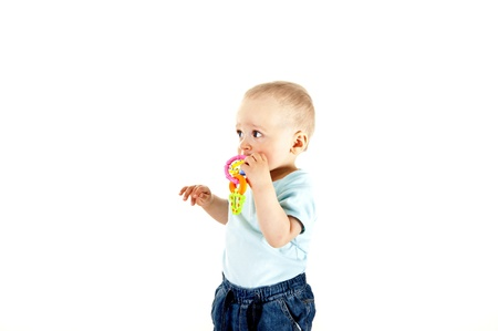 baby playing on white background Stock Photo - 13961923