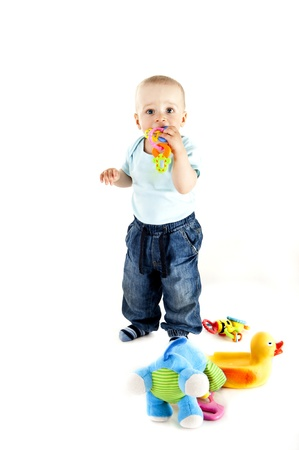baby playing on white background Stock Photo - 13961961