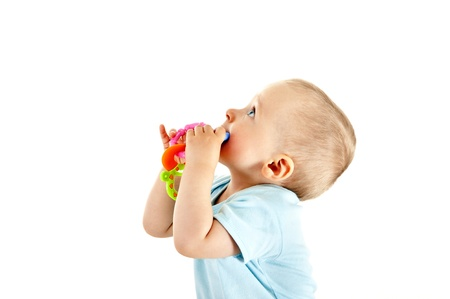 baby on white background look up Stock Photo - 13961937