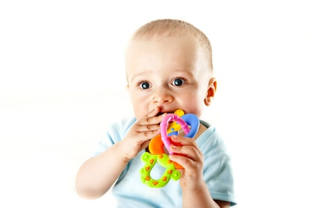 baby playing on white background Stock Photo - 13961970