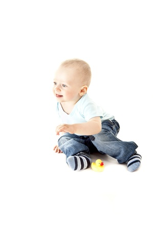 baby on white background look up Stock Photo - 13961925