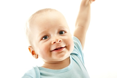 baby on white background look up Stock Photo - 13961969