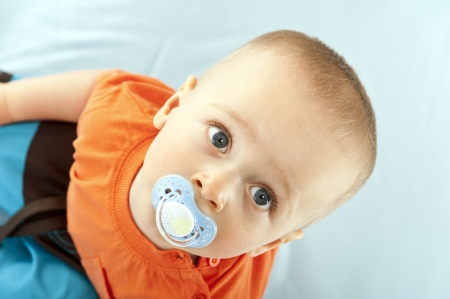 baby on white background look up Stock Photo - 13962014