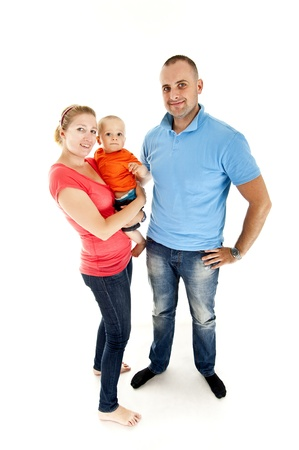 family with they baby on white background photo