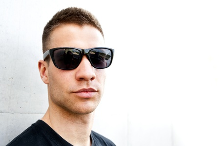 handsome man with sunglasses photo