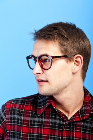man with eye glasses on his nose photo