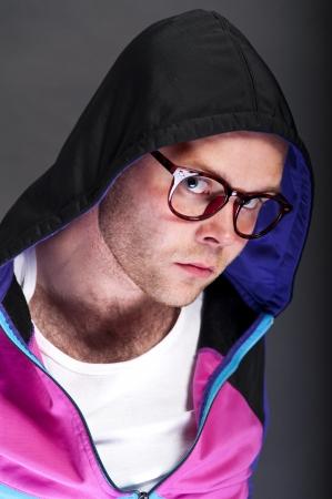 man with hood on his head photo