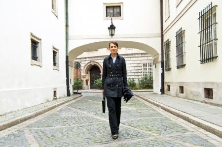 Woman walk to the work or job morning  photo