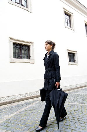 sexy business women: Woman walk to the work or job morning