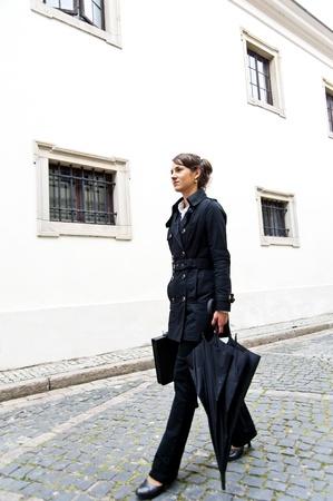 Woman walk to the work or job morning