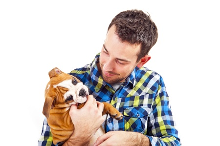 Man with his dog photo