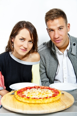 Couple on date in restaurant man and woman photo