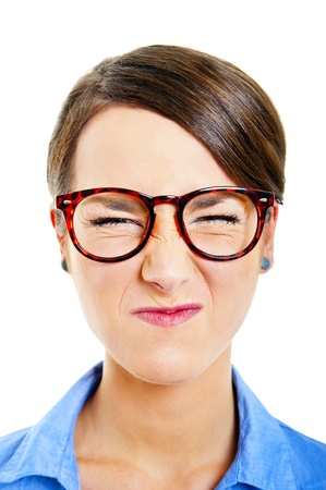 Business woman on white background with angry face photo