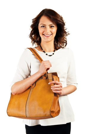 Woman on white background with big smile and bag photo