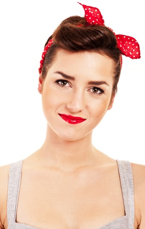 red pin: Woman in Pin-up style on white background smiling Stock Photo