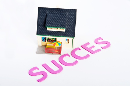 minature: Success word with minature house