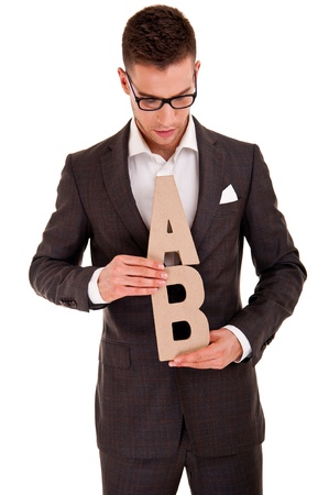 business man writing coaching concept abc bussiness photo