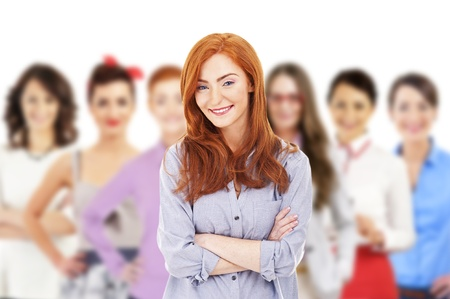 Femme d'affaires dirige une équipe d'affaires et souriant Banque d'images