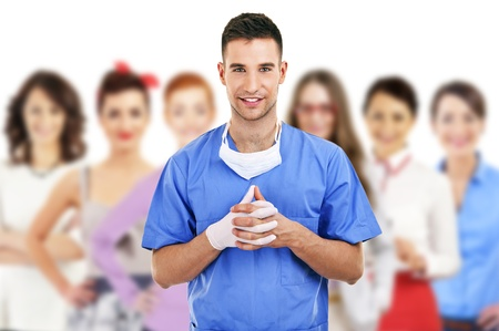 Hospital staff represented by both the medical profession in the form of a doctor and the business administrators Stock Photo - 21465355