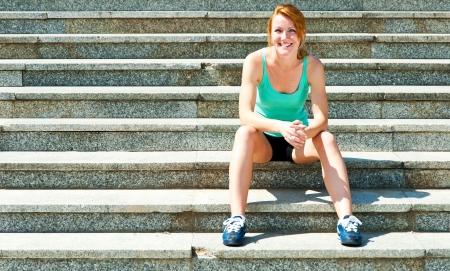 runner - woman running outdoors training for marathon run Stok Fotoğraf