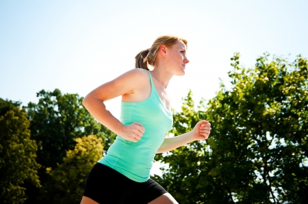 t off: Young lady running Stock Photo
